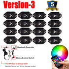 16 Pods RGB Led Rock Lights Kit Color Changing Wireless Bluetooth Control Trucks