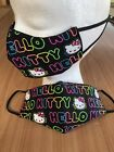 HELLO KITTY NeOn Black 3D Face Mask Authentic SANRIO Fabric w/ FREE Filter