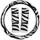 Animal Print Zebra Steering Wheel Cover w/Seat Belt Pads for Car Truck Van SUV