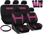 Car Seat Covers for Honda Civic Pink Black w/ Steering Wheel/Belt Pad/Head Rests