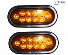 "PAIR AMBER 6"" Oval LED Turn Tail Light  For Truck Trailer Kit w Grommet Plug"