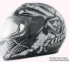 Zoan Z993 Thunder Full Face Helmet Fusion, Solid Black, & Snowflake Graphics