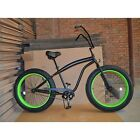 "Fat Tire 26"" Beach Cruiser Big Tire Bike All Terrain Bicycle Black w/Green Rims"