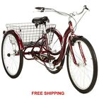 "New SCHWINN 26"" Meridian 3-Wheel Tricycle Adult Comfort Cruiser Trike Cherry Red"