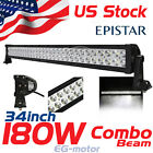 34 inch 180W LED Work Light Bar Flood Lamp Offroad 4x4 Jeep Truck Pickup SUV ATV