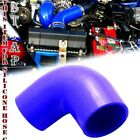 """2"""" To 2.5"""" Inch 90 Degree Silicone Hose Coupler Reducer Turbo pipe Intake Blue"""