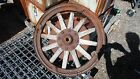 VINTAGE REAR WOODEN SPOKE WHEEL W/BRAKE DRUM