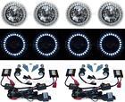 5-3/4 White LED Halo Angel Eyes Headlight H4 Headlamp 6000K HID Light Bulbs Set