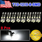 8Pcs T10 8 LED 1210 SMD Canbus Error Free White  Light Lamp W5W 194 168 Internal