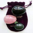 Set of 3 Yoni Eggs of 3 Gemstones: Nephrite Jade, Rose Quartz & Obsidian 3 Sizes