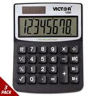 Victor 1000 Minidesk Calculator Solar/Battery 8-Digit LCD [3 PACK]