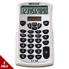 Victor 1170 Handheld Business Calculator w/Slide Case 10-Digit LCD [3 PACK]