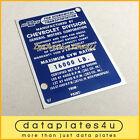 CHEVROLET TRUCK INFO DATA PLATE ID TAG VIN REGISTRATION DOOR POST 16000 LB