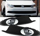 Fit 11-14 VW Jetta Bumper Fog Lights Lamp w/Switch +Bulbs Left+Right Replacement