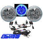 "7"" Blue COB LED Halo Angel Eye Headlamp Headlight H4 HID 6000K Light Bulb Pair"
