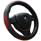 Black Steering Wheel Cover 38cm with Red Stripe for Auto Grip Synthetic Leather