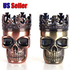 New King Skull Metal T0bacco Herb Spice Grlnder 3 Piece Crusher Hand | US Seller
