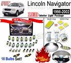 18pcs Super White LED Interior Light Kit Package For Lincoln Navigator 1998-2002