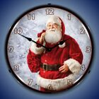 JOLLY SANTA CLAUS CHRISTMAS THEME LIGHTED WALL CLOCK - MADE IN THE U.S.A.-  NEW