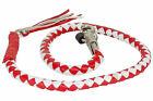 """Motorcycle Riding 42"""" Biker Old school leather get back whip Red White Braided"""