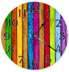 "COLORED WOOD BOARDS Clock - Large 10.5"" Wall Clock - 2268"