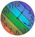 "DIAGONAL COLORED WOOD Boards Clock - Large 10.5"" Wall Clock - 2269"