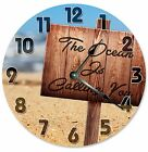 """The OCEAN IS CALLING You Clock - Large 10.5"""" Wall Clock - 2092"""