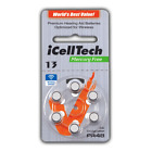 iCell Tech Size 13 Hearing Aid Batteries (30 batteries)with FREE Battery Caddie