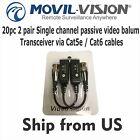 10 pair Single channel passive video balun Transceiver via Cat5e / Cat6