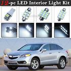 12-pc White 6K LED Car Interior Light Bulbs Package Kit Fit 2007-2016 Acura RDX