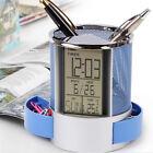 Blue Office Digital LCD Desk ALarm Clock Calendar Pen Pencil Holder Timer Temp