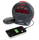 Sonic Alarm Clock Display Bomb Jr. Boom Super Extra Loud Mega Sound Plus Shaker