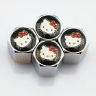 Silver Chrome Styling Metal Adorkable Kitty Car Wheel Tyre Accessories Valve Cap