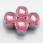 Silver Chrome Styling Metal Pink Vitory Cat Car Wheel Tyre Accessories Valve Cap
