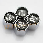 Silver Chrome Styling Autobots Transformers Car Metal Wheel Tyre Valve Dust Caps