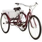 Adult Tricycle Women Men Basket Rack 26 Cherry Red 3 Wheel Bike Tricycles Trike