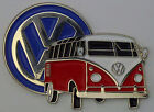 VW KOMBI VAN  --  RED -- LAPEL / HAT PIN BADGE --  DOUBLED PINNED.--- E010901 --