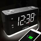 ITOMA Alarm Clock Radio, Digital FM Radio, Dual Alarm, Cell Phone USB Charge