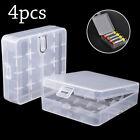 4 Pcs Clear White Plastic Storage Battery Box Holder Case for 4x 18650 Batteries