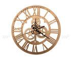 Gold 30cm Acrylic Skeleton Gear Numeral Wall Clock Round Steampunk Home Decor