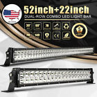 "CREE 980W 52 inch LED LIGHT BAR + 22"" Spot Flood For Offroad Ford f-150 ATV 50"""