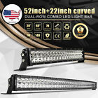 2x Curved 52inch CREE 980W LED LIGHT BAR + 22inch Spot Flood For Jeep Truck 4WD