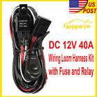 Universal Spot Flood Fog Light Driving Lamp Wiring Harness +Fuse + Switch +Relay