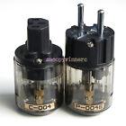 NEW P-004E + C-004 Rhodium Plated / DIY Audio / Power cord / Schuko 1 Pairs