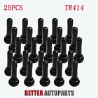 25Pcs TR414  Snap-In Tire Valve Stems Medium Black Rubber