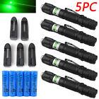 5PCS 10Miles 532nm 303 Green Laser Pointer Pen Visible Beam + Battery + Star Cap