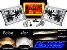 "4X6"" Amber SMD Halo Glass/Metal Headlight 6000K 6K LED Light Bulb Headlamp Pair"