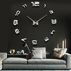 Modern DIY Large Wall Clock 3D Sticker Metal Big Watches Home Decor Gift