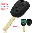 2 Button Remote Key FOB with ID46 Chip inside 433MHz for Peugeot 307 with groove