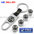 MAZDA VALVE STEM CAPS + KEYCHAIN WHEEL TIRE CHROME - US SELLER VS32